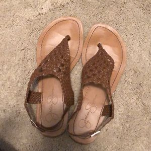 Jessica Simpson brown lace sandals